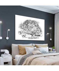 Obraz na płótnie Obraz Drzewo marzeń, obraz czarno biały