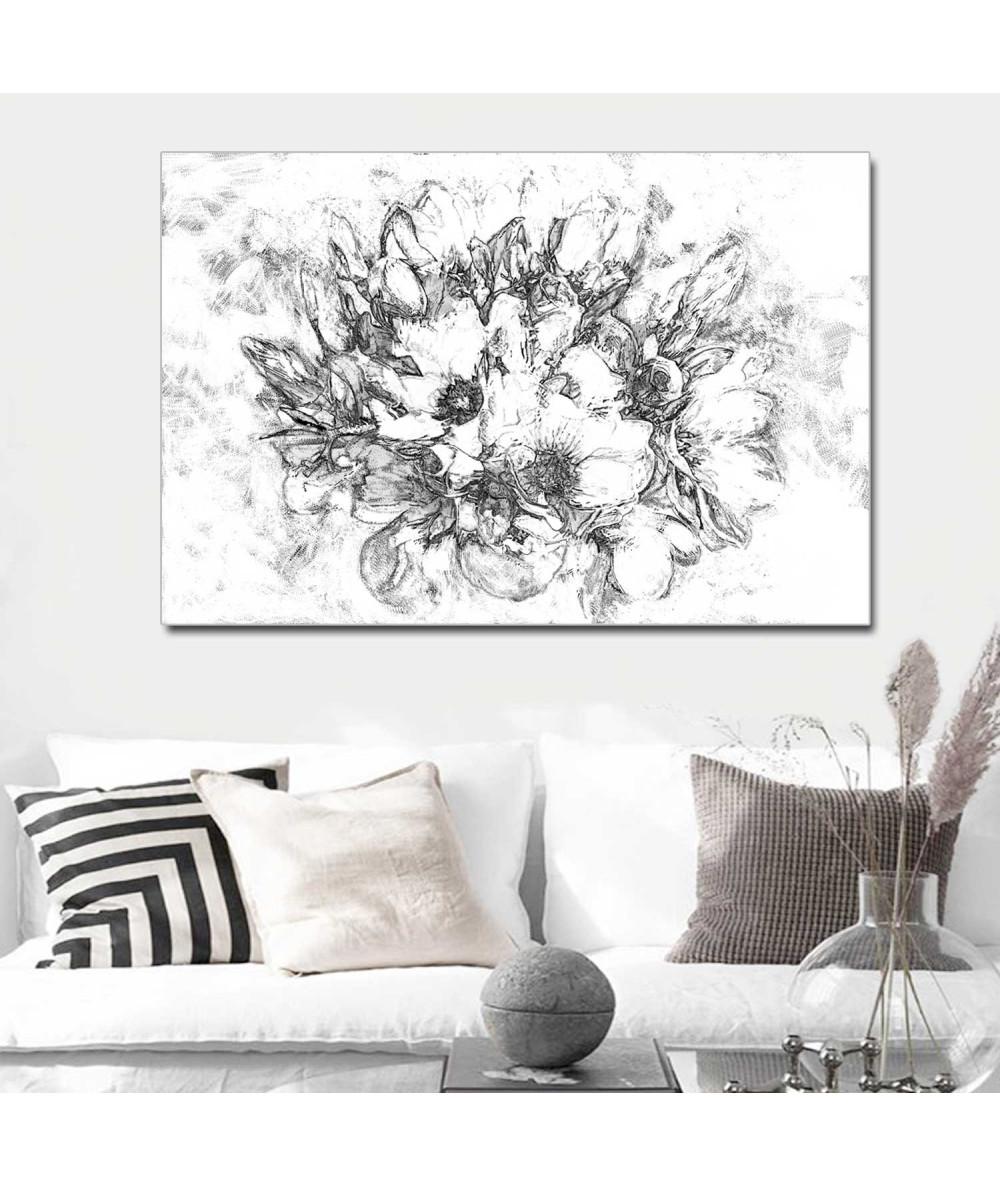 Obraz drukowany Grafika magnolie (1-częściowy) szeroki
