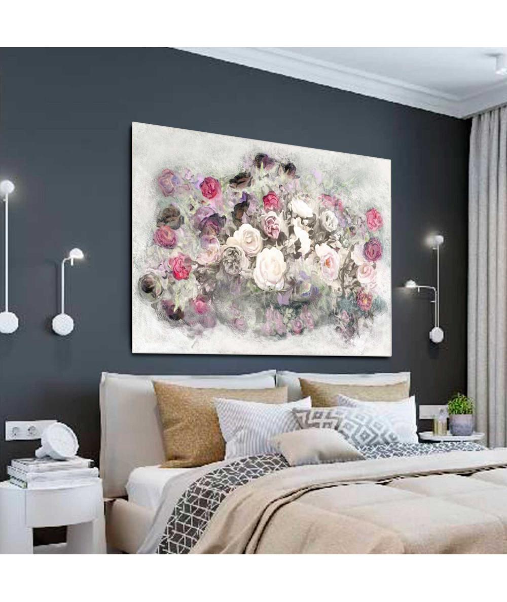 Obrazy kwiaty - Obraz w stylu nowojorskim Róże (1-częściowy) szeroki