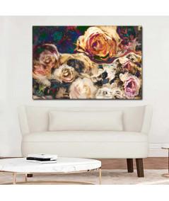 Obraz na płótnie Wydruk na płótnie Kwiaty róży złote (1- częściowy) szeroki