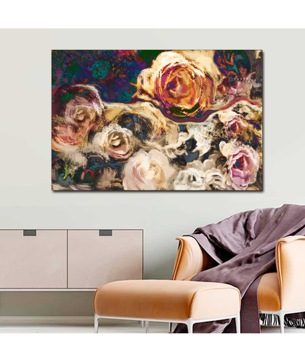 obrazy kwiaty Wydruk na płótnie Kwiaty róży złote (1-częściowy) szeroki