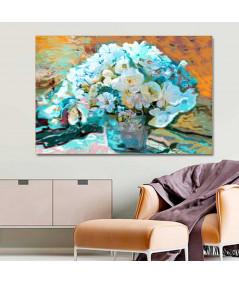 Kwiaty nowoczesny obraz Turkusowy bukiet