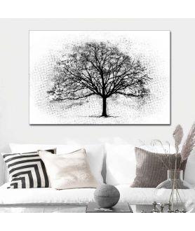 Obrazy grafiki czarno białe Czarne drzewo (1-częściowy) szeroki