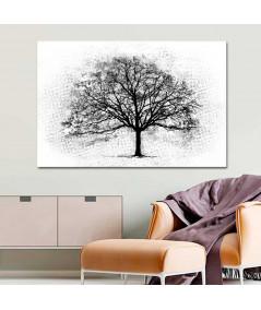 Obraz na płótnie Obrazy czarno białe Czarne drzewo, grafika czarno biała