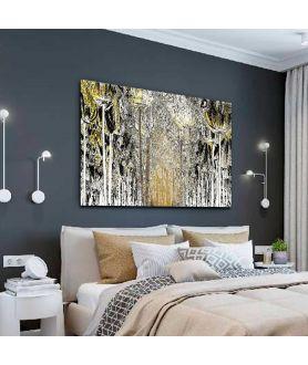Obraz na płótnie Grafika czarno biała z żółtym akcentem Leśna droga