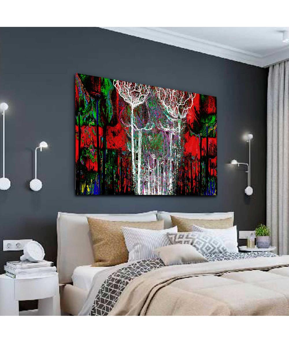 Obrazy las - Obraz do salonu z czerwienią Kolorowy las