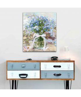 Dekoracja do salonu Obrazy pionowe do salonu Niezapominajki w słoju
