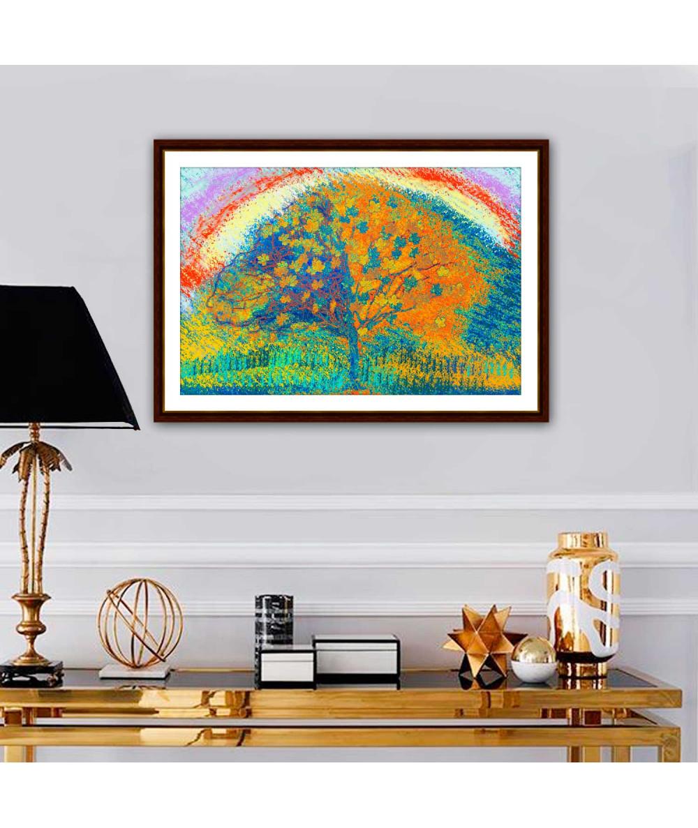 Kolorowy obraz do salonu Drzewo i tęcza