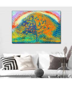 Obraz na płótnie Kolorowy obraz do salonu Drzewo i tęcza