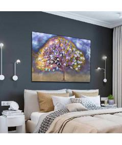 Obraz na płótnie Obraz kolorowy Drzewo po deszczu (1-częściowy) szeroki
