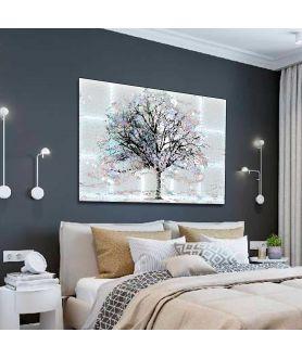 Obraz na płótnie Grafika na ścianę Drzewo za oknem, grafika drzewo