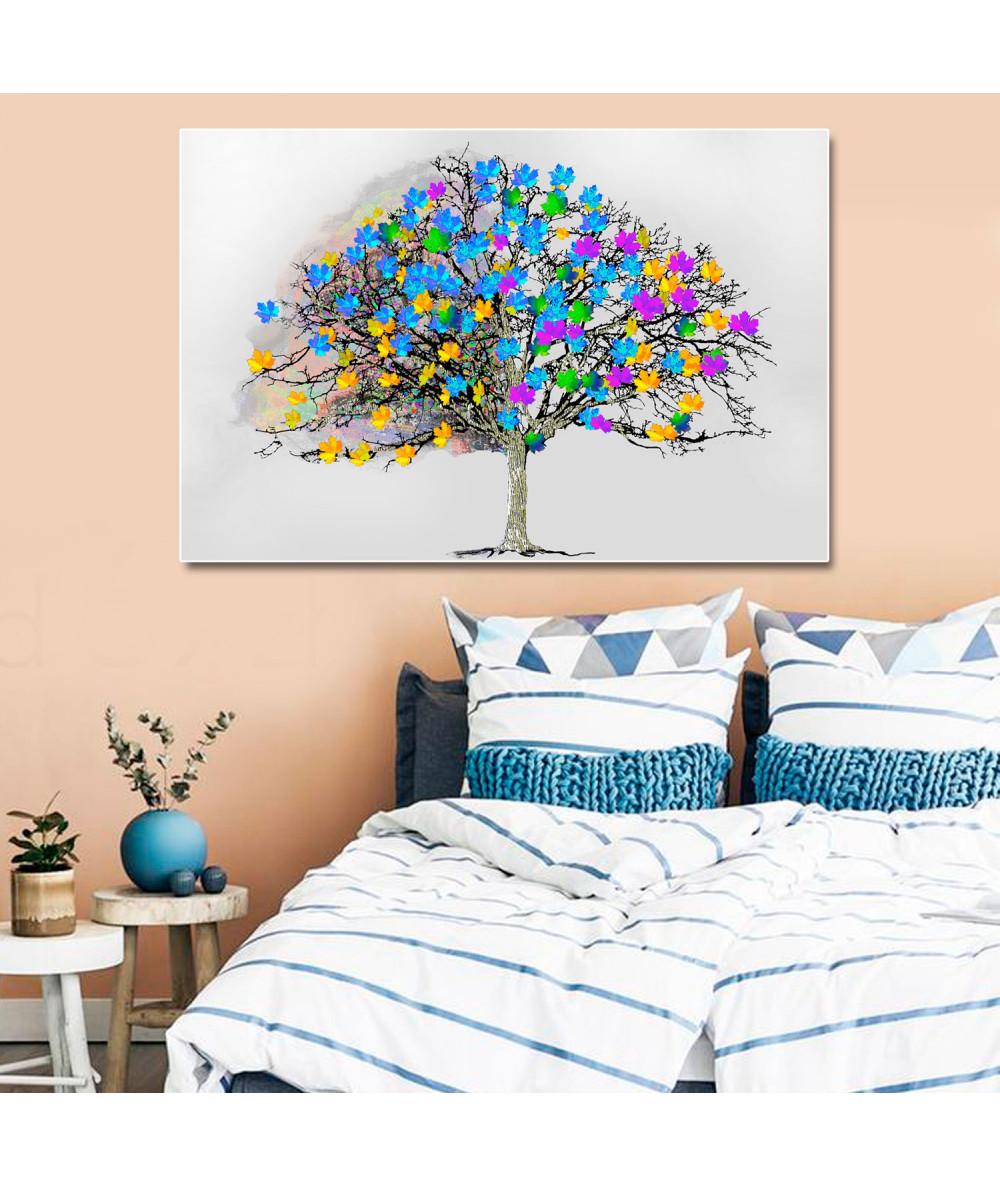 Obraz skandynawski drzewo Kolorowe liście na drzewie