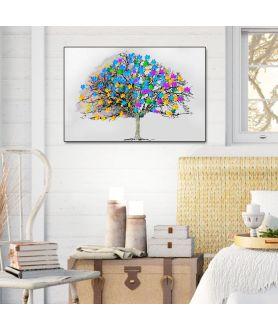 Obraz na płótnie Obraz skandynawski drzewo Kolorowe liście, grafika skandynawska