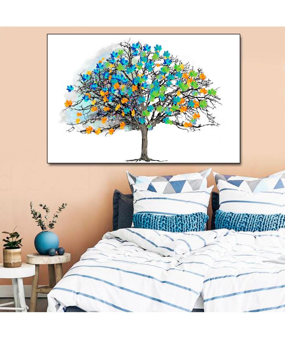 Plakaty w stylu skandynawskim Drzewo i kolorowe liście