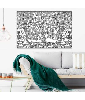 Obraz na płótnie Obraz Drzewo Życia czarno białe, nowoczesny obraz