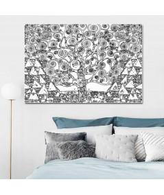 Obraz na płótnie Obraz Drzewo Życia czarno białe (1-częściowy) szeroki