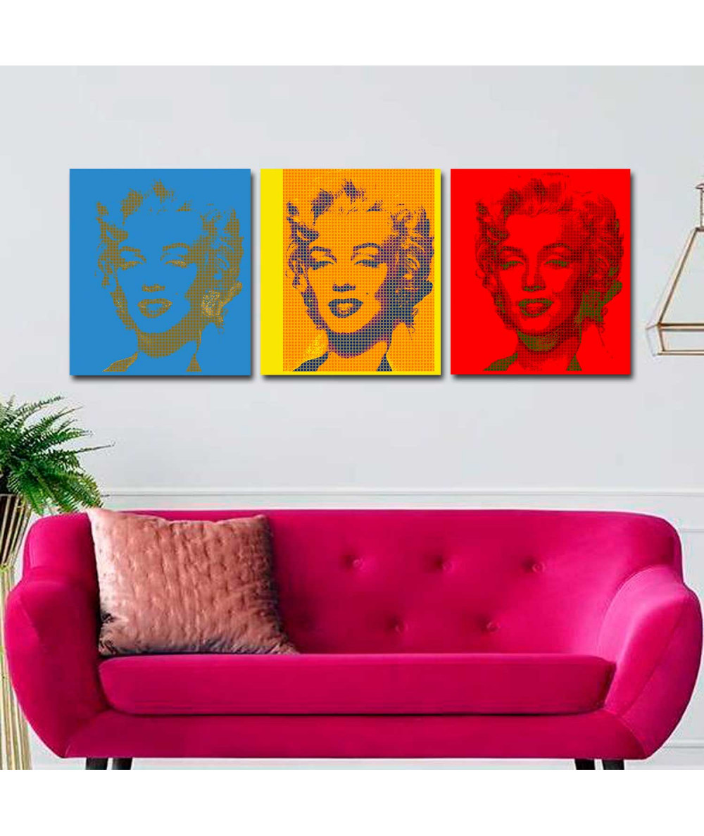 Obraz na płótnie Obraz Tryptyk pop art Monroe (3-częściowy)