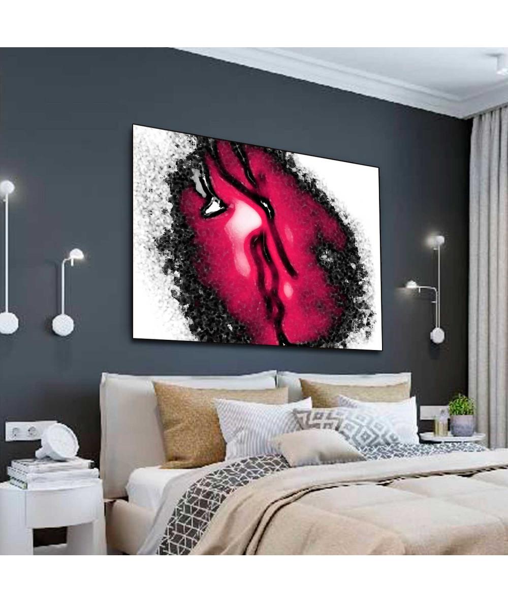 Obrazy miłość czarno czerwony Gorący pocałunek