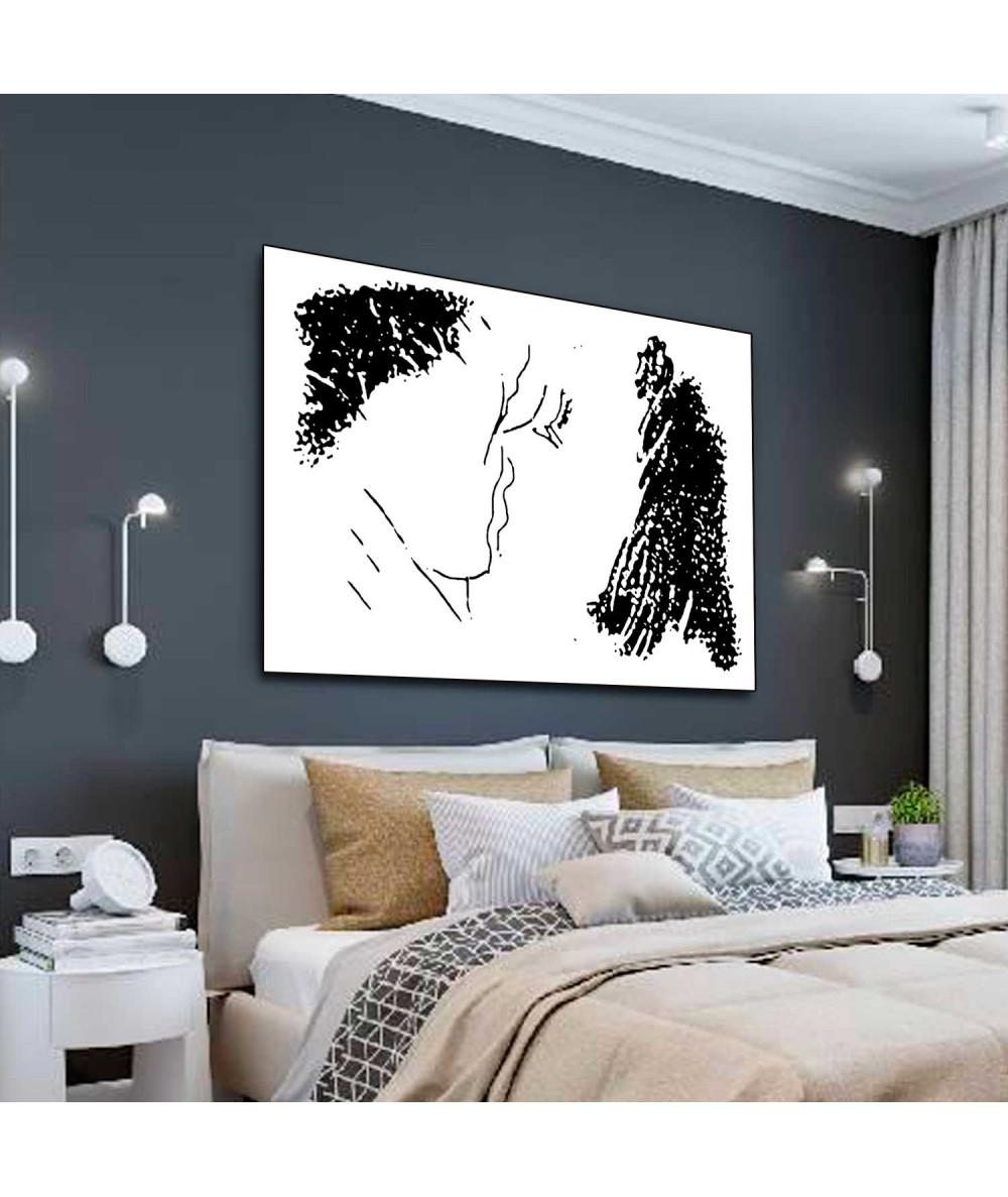 Obrazy pocałunek Nowoczesne grafiki ścienne Grafika z pocałunkiem