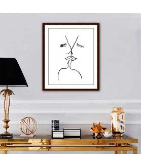 Obraz na płótnie Grafiki na ścianę Grafika pocałunek 7, styl klasyczny