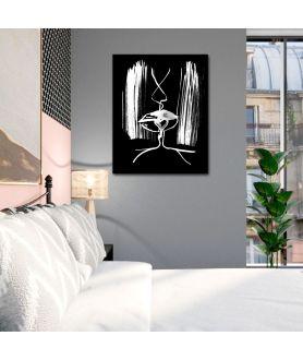 Obraz na płótnie Czarny obraz Grafika pocałunek 6b (pionowy)