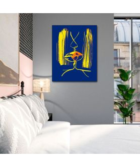 Obraz na płótnie Kolorowe grafiki na ścianę Grafika pocałunek 6c