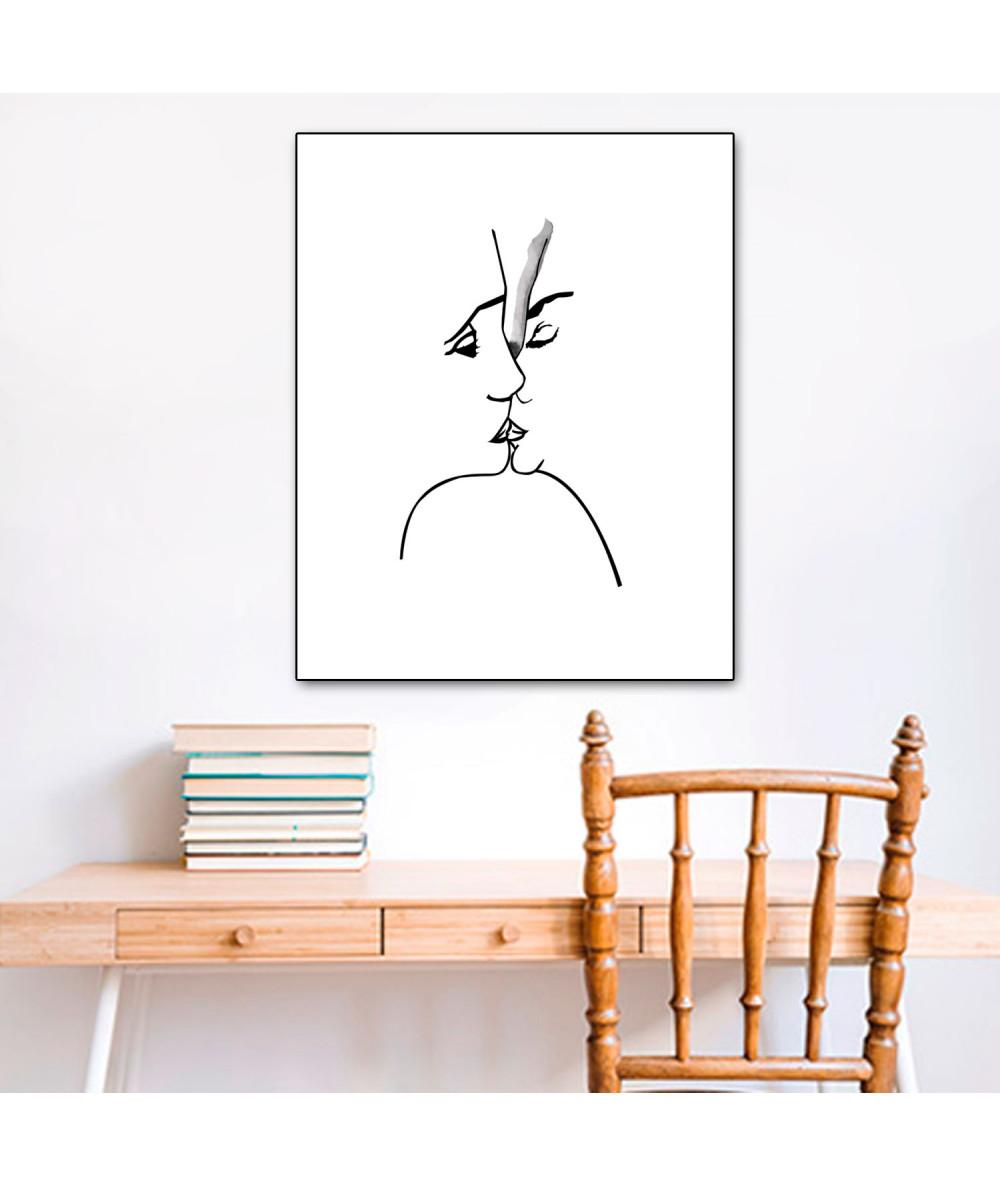 Obrazy pocałunek - Grafika na płótnie Grafika pocałunek 3 (pionowa)