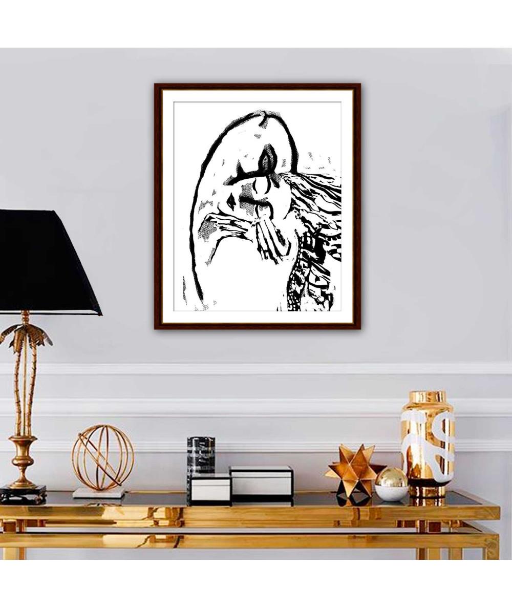 Obrazy pocałunek Grafiki na ścianę czarno białe Grafika pocałunek 2