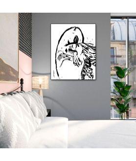 Obraz na płótnie Grafiki na ścianę czarno białe Grafika pocałunek 2