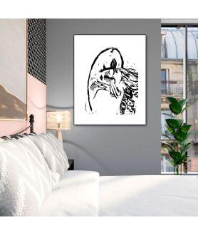 Nowoczesna grafika na ścianę Grafika pocałunek 2 na białym tle