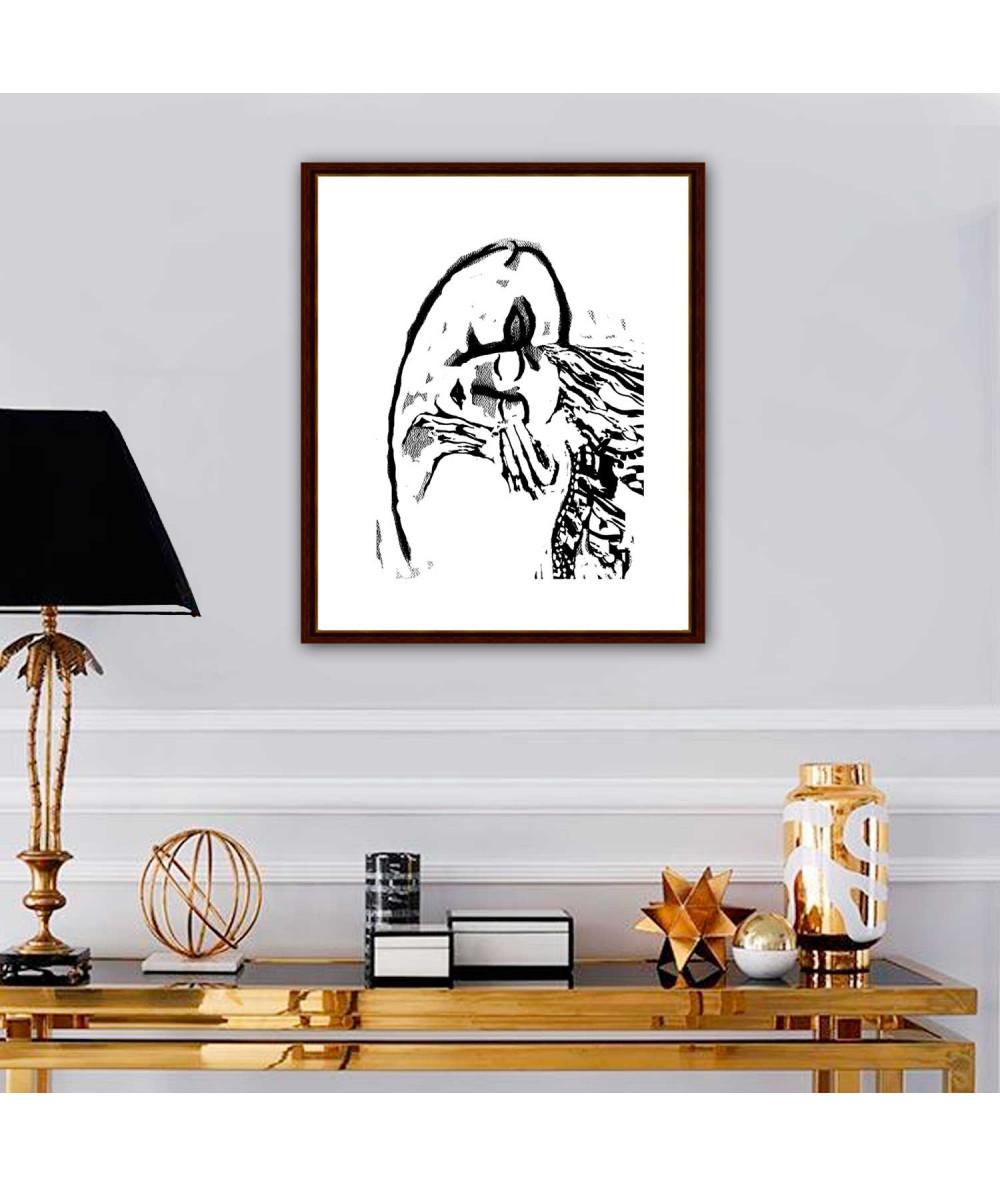 Obrazy pocałunek - Nowoczesna grafika na ścianę Grafika pocałunek 2 na białym tle