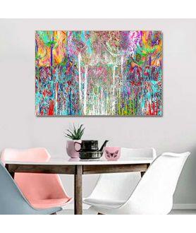 Obraz Kolorowe drzewa w lesie (1-częściowy) szeroki