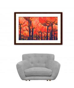 Obraz do salonu Tulipany czerwony las (1-częściowy) szeroki
