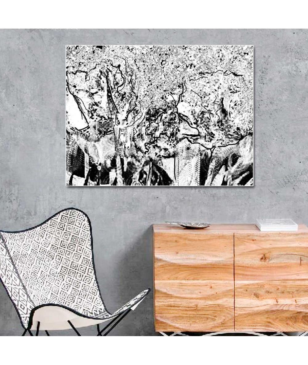 Obraz czarno biały nowoczesny Las czarno biały