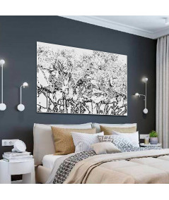 Grafika czarno biała abstrakcja Drzewa w lesie