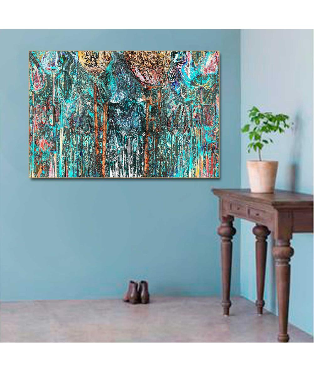Obrazy las - Obraz drzewa turkusowe Drzewa w moim lesie