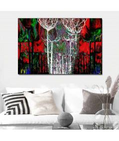 Obraz na płótnie Obraz do salonu z czerwienią Kolorowy las