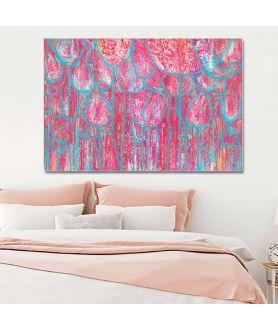 obrazy kwiaty Obrazy kwiaty do salonu W lesie różowych tulipanów