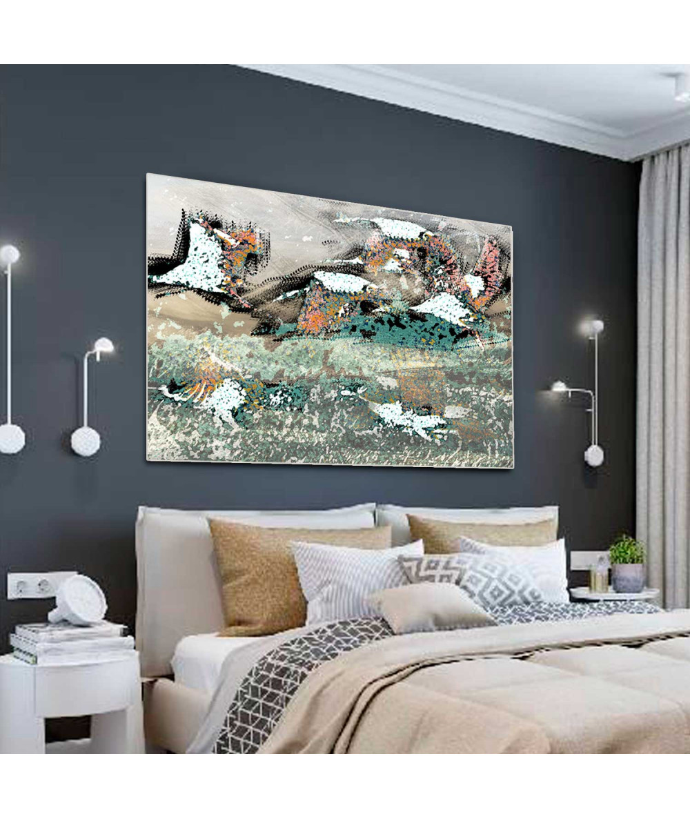 Obraz lecące żurawie Pod niebem (1-częściowy) szeroki