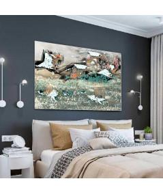 Obrazy zwierząt - Obraz lecące żurawie Pod niebem (1-częściowy) szeroki