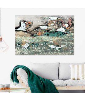 Obraz na płótnie Obraz lecące żurawie Pod niebem, obrazy zwierzęta