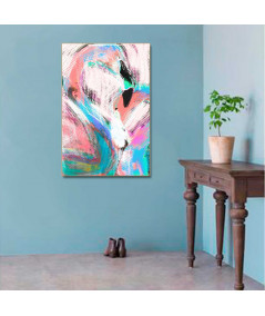 Obraz na płótnie Kolorowa grafika na ścianę Flamingi (1-częściowa) pionowa