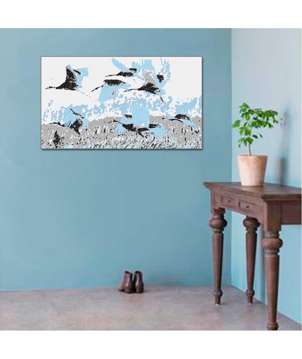 Obraz zwierzęta dzikie Żurawie białe (1-częściowy) szeroki