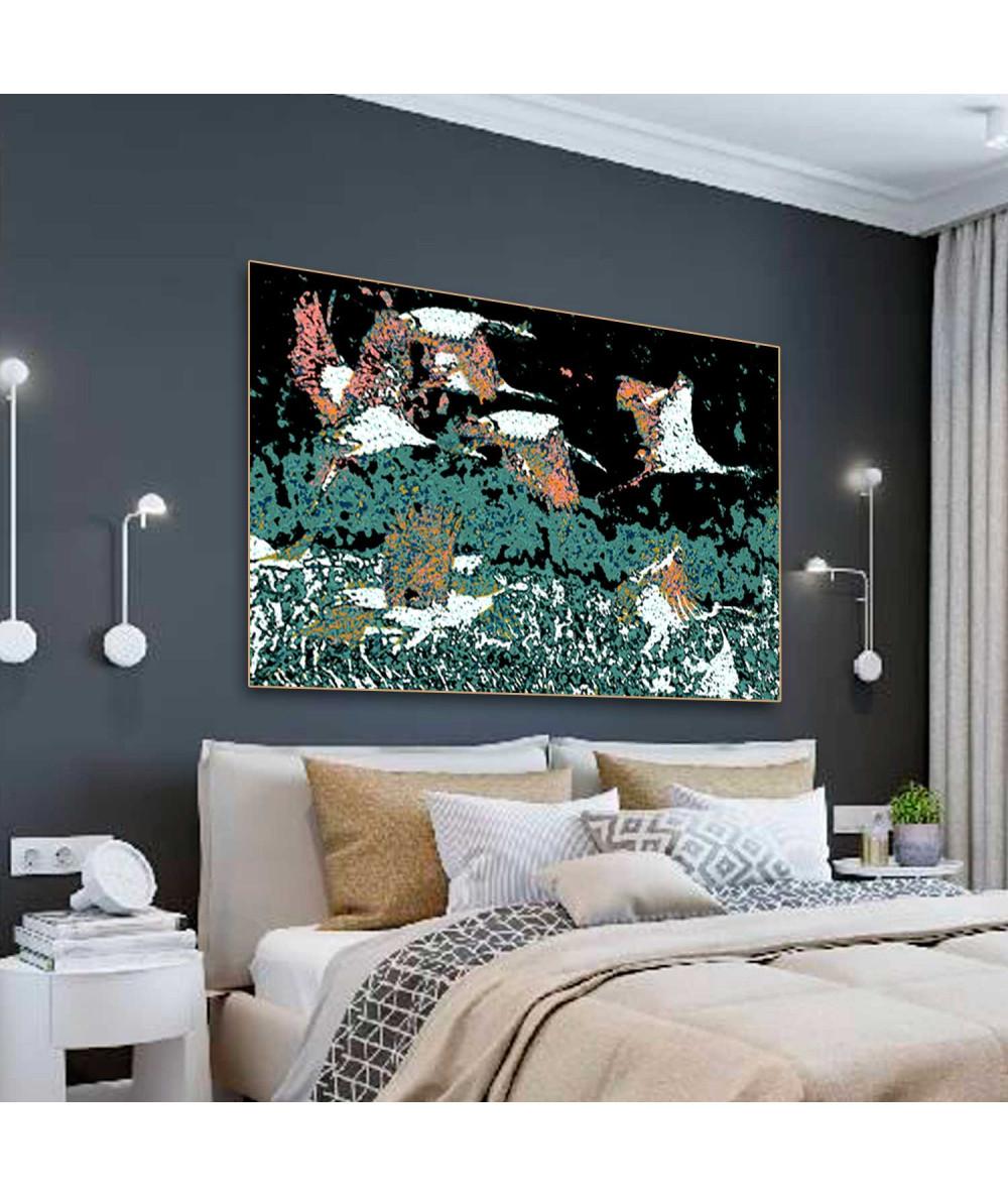 Obrazy zwierząt - Obrazy z ptakami Żurawie w nocy, obrazy do sypialni