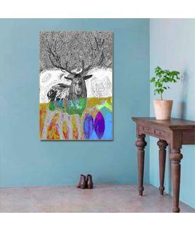 Obraz na płótnie Obraz grafika zwierzęta leśne Las jelenia (pionowy)