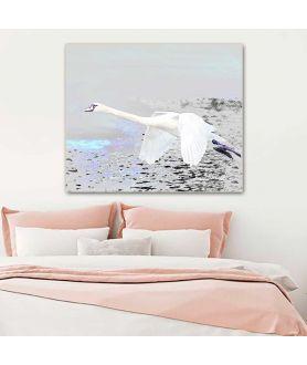 Obraz na płótnie Obraz łabędź Lot łabędzia, nowoczesne grafiki do sypialni