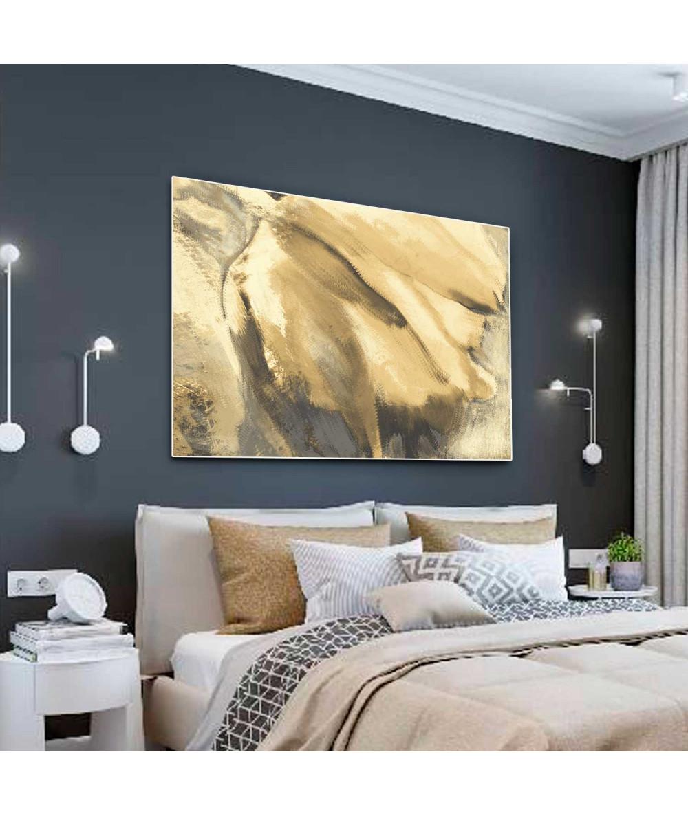 Złote Obrazy - Nowoczesny obraz do salonu Złoty tulipan