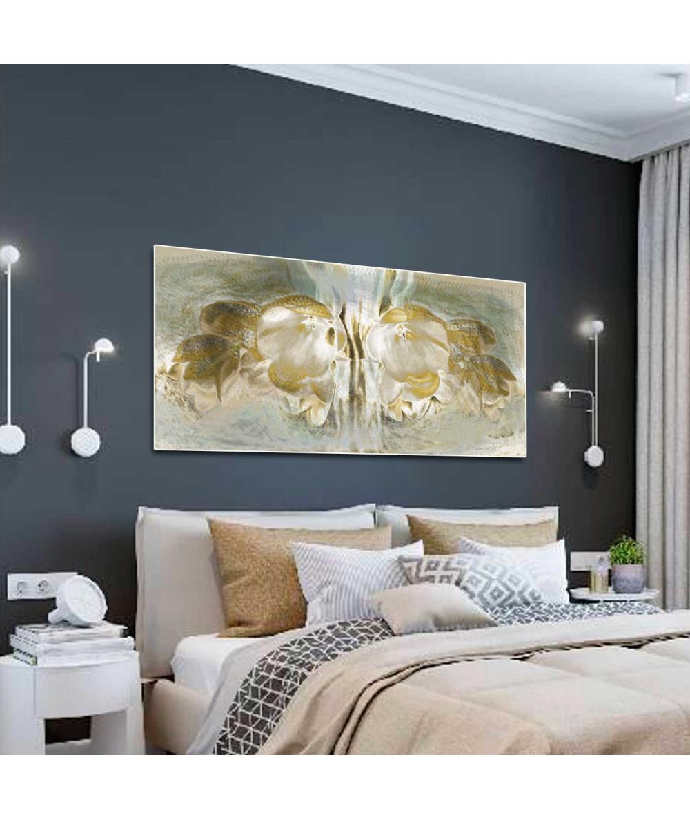 Panoramy - Obrazy długie na płótnie do sypialni Tulipany panorama