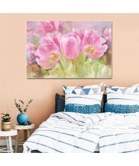 Obraz na płótnie Obraz kwiaty na płótnie Różowe tulipany