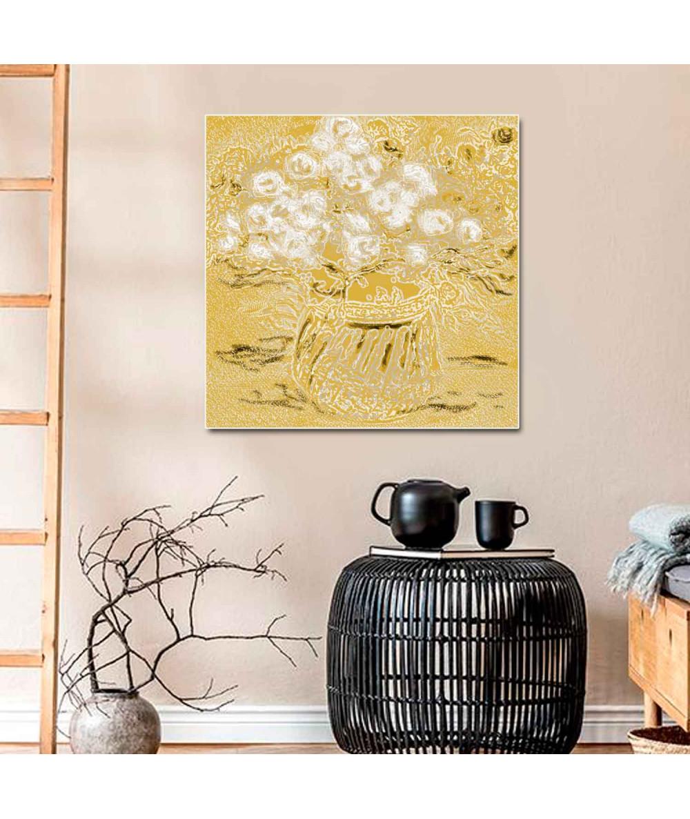 obrazy kwiaty Obraz glamour Białe róże w wazonie, obraz bukiet kwiatów